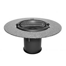 Гриль мангал барбекю GRILL-111 со столешницей по кругу из серого лабрадорита